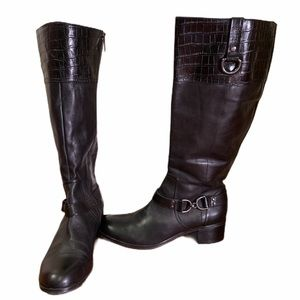 BANDOLINO Croc Black Tall Leather Riding Boots 9M